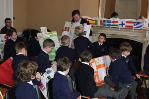 Biran Hayes MEP enjoying the work of CUS's pupils.