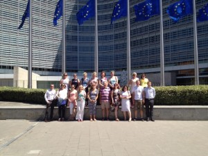 Blue Star teachers pictured outside the European Commission on last year's Blue Star trip to Brussels